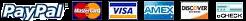 Opcoes de Pagamento: Paypal, Mastercard, VISA, American Express, Discover, eCheck